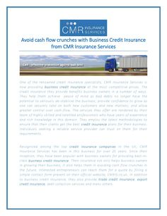 Avoid cash flow crunches with business credit insurance from cmr insurance services  One of the renowned credit insurance specialists, CMR Insurance Services is now providing business credit insurance at the most competitive prices. The credit insurance they provide benefits business owners in a number of ways.