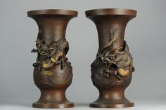 Heavy Antique Bronze or Bras Vases Dragon Vessels ToP    Beautifully crafted SET. Nice item by the fineness craftmanship. From Japan or China.