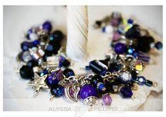 Beaded Cluster Bracelet Silver  Ravens Purple by WhatAGirlWantsAcc, $130.00