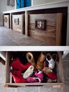 shoe storage idea. Find crates at craft store. Put casters on. Put crates under a bench in garage. One per person. Inside crate further divide with smaller boxes for winter gear.