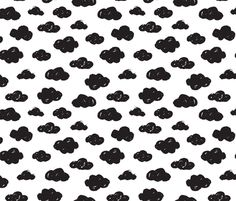 Black clouds black and white abstract geometric gender neutrals prints for kids fabric surface design by Little Smilemakers on Spoonflower - custom fabric and wallpaper inspiration