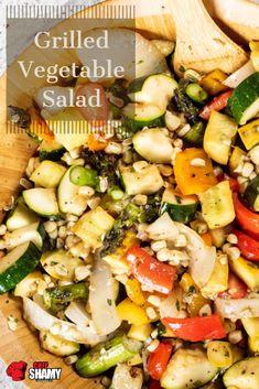 Best Salad Recipes, Veggie Recipes, Vegetarian Recipes, Healthy Recipes, Shrimp Recipes, Easy Recipes, Grilled Vegetable Salads, Grilled Vegetables, Healthy Cooking