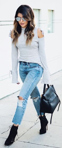 #spring #fashion / Grey Open Shoulder Knit / Ripped Skinny Jeans / Black Booties / Black Leather Tote Bag