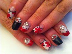 Retro Floral Japanese Nail Art