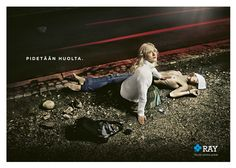 """Take care"" -Print ad for RAY.   Finnish Slot Machine Association donates its profit to humanitarian aid organisations, that help – among other things – victims of domestic violence and the homeless. Photo: Magnus Weckström. Adaptation from Akseli Gallen-Kallela´s famous painting ""Lemminkäinen´s mother"" from 1897"