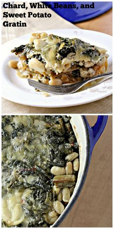 Chard, White Bean and Sweet Potato Gratin