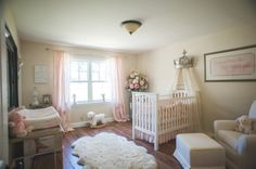Baby Girl Princess Nursery. Timeless and classy bedroom for little girls. Find out how to style a room like this on a budget.