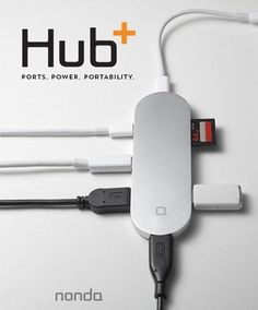 The Hub+ is a small aluminum hub with six ports: Two USB-C ports, three full-sized USB ports and an SDXC card reader.
