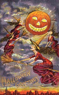 Flying Around on Broomsticks, Witches ~ Vintage Halloween ~ Cross Stitch Pattern #StoneyKnobFarmHeirlooms #Frame