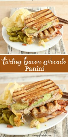 Turkey Bacon Avocado Panini - Such a great and easy to make sandwich for lunch or a quick dinner. Turkey Bacon Avocado Panini is - Grill Sandwich, Sandwiches For Lunch, Turkey Sandwiches, Turkey Avocado Sandwich, Panini Sandwiches, Healthy Sandwiches, Best Panini Recipes, Simple Sandwich Recipes, Avocado Sandwich Recipes