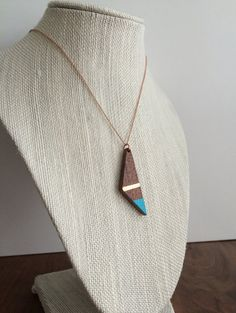 Unique Wood Gifts - Gold Turquoise Wood Pendant - Wood Triangle Pendant - Yoga Jewelry - Hand Carved Wood - Double Sided Jewelry