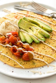 Chickpea Pancake Jumbo Chickpea Pancake – A High Protein, Filling Vegan Breakfast or Lunch!Jumbo Chickpea Pancake – A High Protein, Filling Vegan Breakfast or Lunch! Chickpea Pancakes, Chickpea Omelette, Vegan Pancakes, Protein Pancakes, Whole Food Recipes, Cooking Recipes, Cocina Natural, Vegetarian Recipes, Healthy Recipes