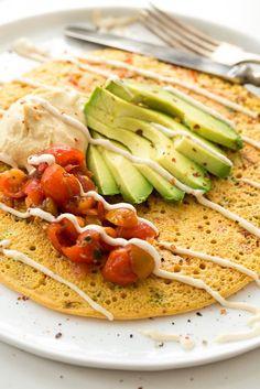 Chickpea Pancake Jumbo Chickpea Pancake – A High Protein, Filling Vegan Breakfast or Lunch!Jumbo Chickpea Pancake – A High Protein, Filling Vegan Breakfast or Lunch! Vegan Foods, Vegan Dishes, Vegan Meals, Chickpea Pancakes, Chickpea Omelette, Vegan Pancakes, Protein Pancakes, Whole Food Recipes, Cooking Recipes