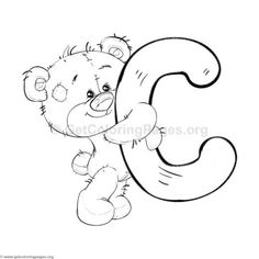 Printable Alphabet Coloring Pages Collection. Well, what do you think about alphabet coloring pages? Before recognizing it more, let's check what alphabet is! Letter C Coloring Pages, Train Coloring Pages, Preschool Coloring Pages, Bear Coloring Pages, Coloring Pages To Print, Adult Coloring Pages, Coloring Sheets, Coloring Books, Bubble Letters Alphabet