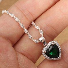 Heart-Emerald-925-Silver-Fashion-Jewelry-Set-Women-Necklace-Earrings-Ring-Set