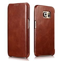 iCarer Samsung Galaxy S6 Edge Side Open Vintage Series Genuine Leather Case Cover