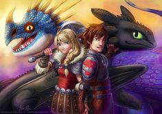 Hiccup and Astrid the Dragon Trainers and Toothless and Stormfly