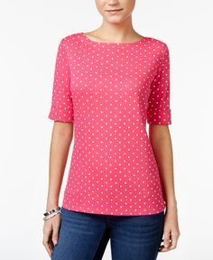 Karen Scott Petite Dot-Print Top, Only at Macy's