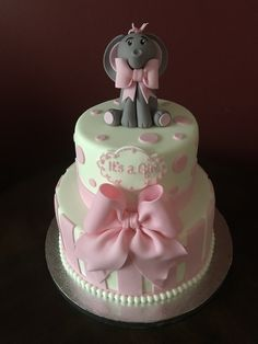 It's a Girl, Elephant Baby Shower Cake Baby Shower Items, Fun Baby Shower Games, Baby Shower Parties, Elephant Baby Shower Cake, Baby Shower Cakes, Baby Boy Or Girl, Shower Ideas, Party Favors, Cute Babies