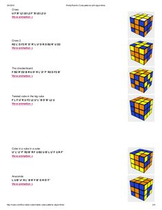 3/4/2014 PrettyRubik's Cube patterns with algorithms http://ruwix.com/the-rubiks-cube/rubiks-cube-patterns-algorithms/ 2/4...