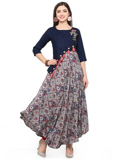 A beautiful combination of blue and grey is used in this rayon with beautiful embroidery, helping you achieve a glamorous casual look. Salwar Designs, Blouse Designs, Indian Designer Outfits, Designer Dresses, Designer Kurtis, Stylish Dresses, Simple Dresses, Hijab Fashion, Fashion Dresses