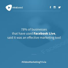 """""""78% of businesses that have used Facebook Live, said it was an effective marketing tool"""" #VideoMarketingTrivia #Marketing #VideoMarketing#VideoContent #SmallBiz #Video #SMM#YouTubeMarketing #Business#ContentMarketing #DigitalMarketing #SocialMedia #YouTube #Seo #GrowthHacking #InboundMarketing Inbound Marketing, Marketing Tools, Digital Marketing, Trivia, Seo, How To Make Money, Social Media, Facebook, Sayings"""