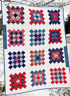 Granny Squares Red, White, and Blue Quilt