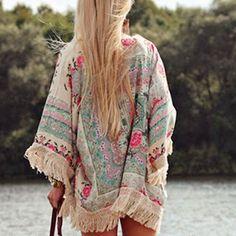 Womens Floral Loose Tassels Shawl Kimono Cardigan Coat Jacket Wrap Tops Cover Up