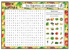 Vocabulaire : Mots mêlés : Les légumes du potager - Fiches de préparations (cycle1-cycle 2-CLIS) French Worksheets, Worksheets For Kids, Teaching French, French Food, Cycle 2, Nutrition, Journal, Courses, Horticulture