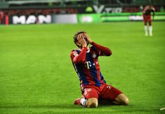 Thomas Mueller of Muenchen reacts during the Bundesliga match between VfL Wolfsburg and FC Bayern Muenchen at Volkswagen Arena on January 30, 2015 in Wolfsburg, Germany.