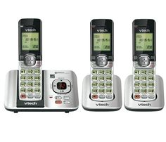 VTech CS6529-3 DECT 6.0 Phone Answering System with Caller ID/Call Waiting with 3 Cordless Handsets, Silver/Black