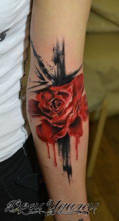 Flower tattoo on forearm trash polka by Yurec Udalec - Tattoo MAG Hand Tattoos, Unique Tattoos, New Tattoos, Tattoos For Guys, Forearm Flower Tattoo, Forearm Tattoo Design, Forearm Tattoos, Tattoo Trash, Trash Polka Tattoo