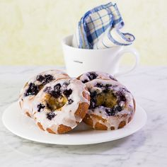 Honey Blue Blueberry Donuts, Gluten Free. Great with your morning coffee.