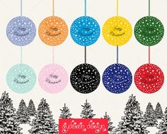 Christmas Balls Clipart Extended Commercial Use Vector