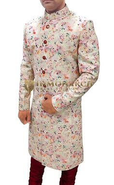 Mens Natural Color Jute Silk 2 Pc Indian Sherwani #sherwani #weddingsherwani #groom #groomsherwani #indianweddingsherwani #ethnic #traditional #outfit