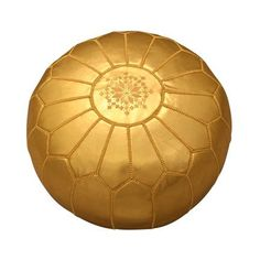 Gold Moroccan Leather Pouf - more of a neutral fun