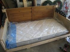 Not pleased with inflatable mattress options, Zaeske protected a regular twin mattress with a waterproof mattress pad and had a custom slipcover made of outdoor fabric. She estimates the cost of the mattress and protective cover at about $200.