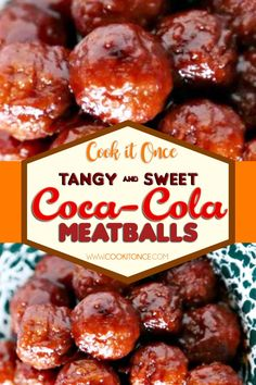 Coca Cola Meatballs Recipe, Coca-Cola Meatballs are comforting, rich, tangy and saucy – my family's favorite dinner choice ! Serve over pasta, rice or mashed potatoes. #cocacola #meatballs #cocacolameatballs #sweet #tangy #dinnerrecipe Meatball Recipes, Crockpot Recipes, Cooking Recipes, Hamburger Recipes, Meatloaf Recipes, Cooking Ideas, Tasty Meatballs, Appetizer Recipes, Appetizers