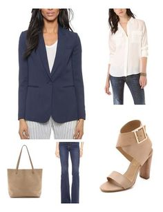 A blue blazer, white blouse and taupe accessories are the perfect closet essentials to style with the modern flare jean.  A forever chic look for a casual friday.