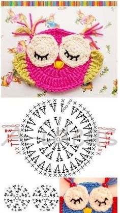"Diy Crafts - Animais em crochê ""☆ ★ ✭ Aplique de Crochê Bichos - / ☆ ★ ✭ Apply by Crochet Critters -"", ""Wonderful applikashki from les frotte Diy Crochet Owl, Crochet Owl Applique, Marque-pages Au Crochet, Crochet Mignon, Crochet Motifs, Crochet Diagram, Crochet Gifts, Cute Crochet, Crochet Animals"