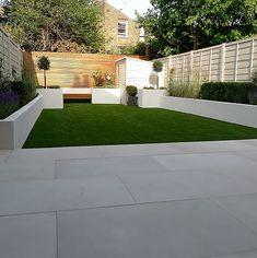 modern white garden design battersea london chalk fence - All About Balcony Garden Slabs, Garden Paving, Backyard Patio Designs, Small Backyard Landscaping, Contemporary Garden Design, Landscape Design, Small Gardens, Outdoor Gardens, Outdoor Paving