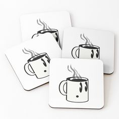 Cute and simple, this little guy is here to give a caffeinated kick to your day!  #cup #coffee #illustration #coasters #line-art #cute #simple #aocillustration