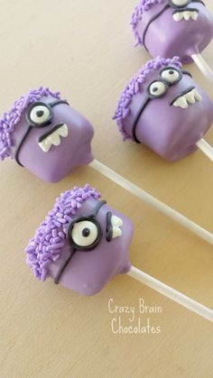Chocolate Covered Evil Minions Marshmallow Pops (12) by CrazyBrainChocolate on Etsy