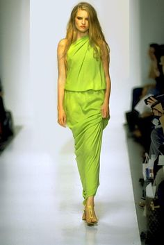 Lloyd Klein chartreuse asymetric draped chiffon gown is for you my Goddess   ^ja