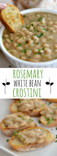 Easy party appetizer made with rosemary white beans and. Easy party appetizer made with rosemary white beans and garlic. Side Dishes Easy, Side Dish Recipes, Veggie Recipes, Appetizer Recipes, Soup Recipes, Vegetarian Recipes, Cooking Recipes, Healthy Recipes, Appetizers