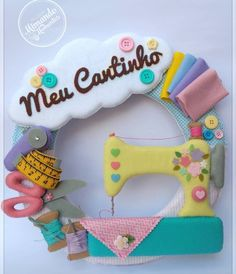 Diy Clay, Clay Crafts, Felt Crafts, Diy And Crafts, Crafts For Kids, Baby Sewing Projects, Sewing Crafts, Crea Fimo, Felt Name Banner