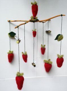 Needle Felted Summer Strawberry Mobile. $65.00, via Etsy.  #pinhonest