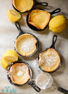 German pancakes (aka Dutch babies) are oven baked pancakes that puff up impressively and taste amazing! German Pancakes Recipe, Baked Pancakes, Pancakes And Waffles, Lemon Pancakes, Mini German Pancakes, Dutch Pancakes, Dutch Baby Pancake, Pancakes Easy, Cast Iron Skillet Cooking