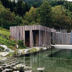 Natural pool with poolhouse clad in fibreC, by Rieder.