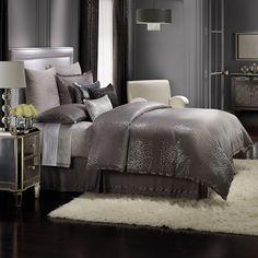 Kohls Bedding Sets, Glam Bedding, Grey Comforter Sets, Glam Bedroom, Queen Bedding Sets, Luxury Bedding Sets, Home Decor Bedroom, Bedroom Ideas, Silver Bedding